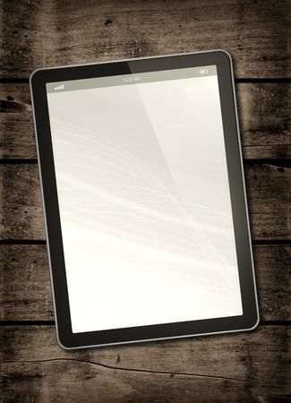 tablet: Digital tablet PC on a dark wood table - vertical office mockup