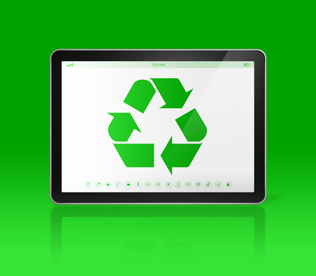 digital tablet: 3D Digital tablet PC with a recycling symbol on screen. ecological concept Stock Photo
