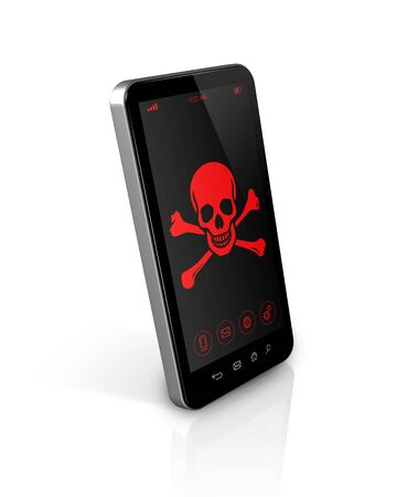 phone symbol: 3D smart phone with a pirate symbol on screen. Hacking concept
