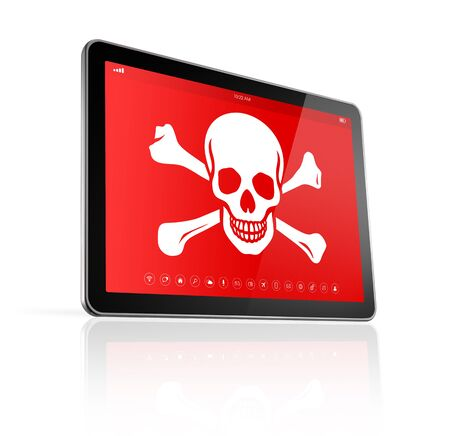 digital tablet: 3D digital tablet PC with a pirate symbol on screen. Hacking concept