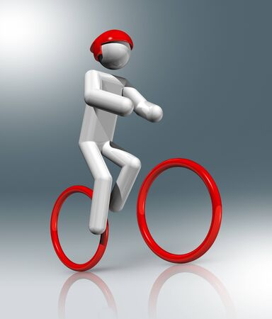 cartoon figure: three dimensional cycling mountain bike symbol, sports competition games