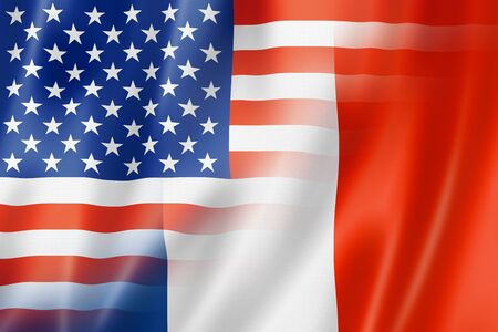 star spangled: Mixed USA and France flag, three dimensional render, illustration Stock Photo