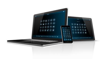 icono computadora: Tablet PC Smartphone 3D y port�til aislados en blanco con trazado de recorte