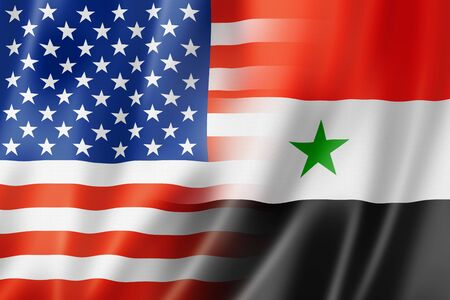 spangled: Mixed USA and Syria flag, three dimensional render, illustration Stock Photo