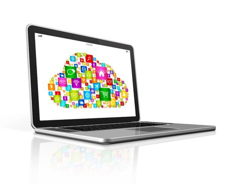 computer screen: Cloud Computing Symbol on a laptop. Isolated on white with clipping path