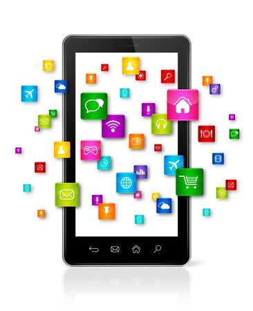 smartphone apps: Apps icons flying around Smartphone - white background
