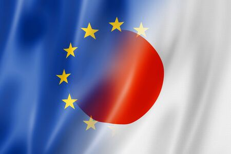 japan flag: Mixed Europe and Japan flag, three dimensional render, illustration Stock Photo
