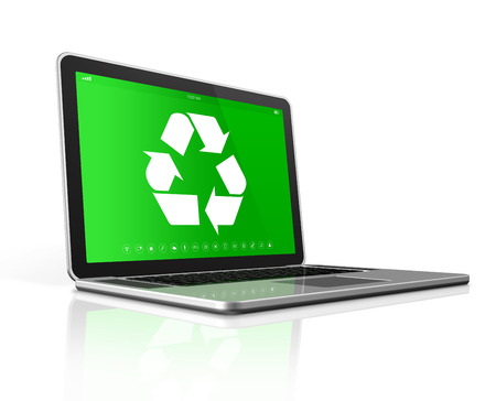 eco icon: 3D Laptop with a recycle symbol on screen. environmental conservation concept