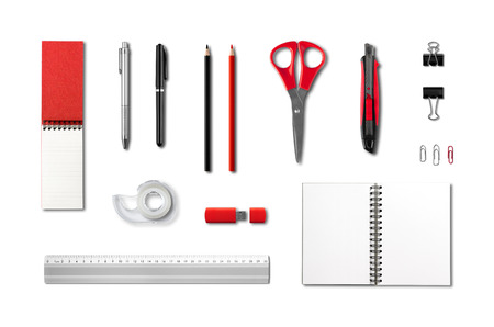 office supply: Stationery, office supplies mockup template, isolated on white background Stock Photo