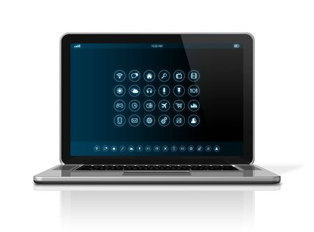 netbook: 3D Laptop Computer - apps icons interface - isolated on white with clipping path