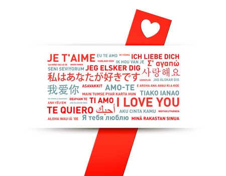 languages: Te amo tarjeta traducido en diferentes idiomas del mundo