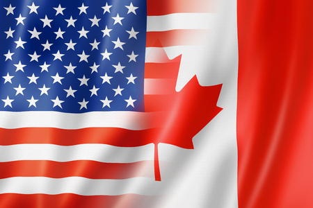 spangled: Mixed USA and Canada flag, three dimensional render, illustration