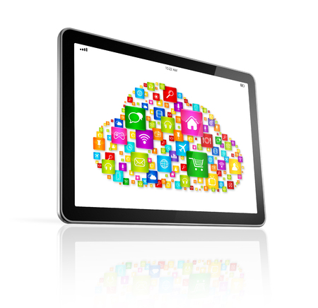 computer screen: 3D Cloud computing symbol on Digital Tablet pc - isolated on white with clipping path