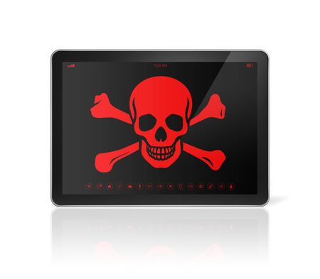 data theft: 3D Tablet PC with a pirate symbol on screen. Hacking concept