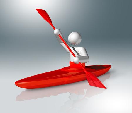 canoe: three dimensional canoe slalom symbol,  Stock Photo