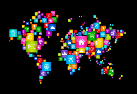 high tech world: World Map made of Flying Desktop Icons. Cloud Computing concept Stock Photo