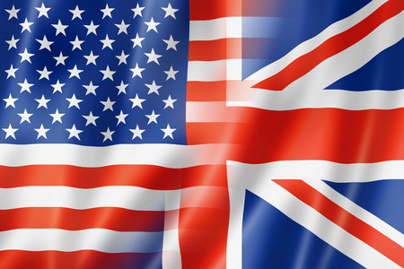 american currency: Mixed USA and UK flag, three dimensional render, illustration Stock Photo