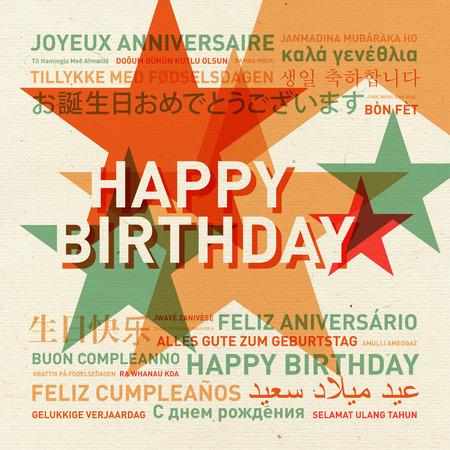 languages: Feliz cumpleaños del mundo. Diferentes idiomas vendimia tarjeta de celebración