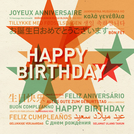 celebration card: Happy birthday from the world. Different languages vintage celebration card Stock Photo