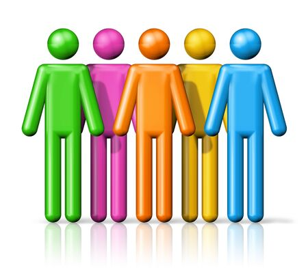 three dimensional: three dimensional group of people stick figures - colorful