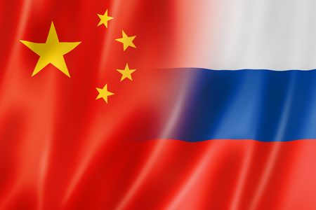 china business: Mixed China and Russia flag, three dimensional render, illustration