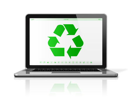 electronics icons: 3D Laptop computer with a recycling symbol on screen. environmental conservation concept Stock Photo