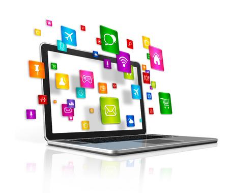 interaccion social: 3D aplicaciones vuelan iconos y portátil del ordenador aislado sobre un fondo blanco