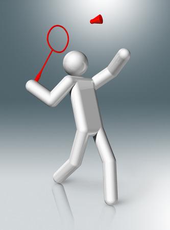 three dimensional: three dimensional badminton symbol, sports competition games Stock Photo
