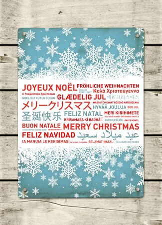 christmas wallpaper: Merry christmas from the world. Different languages celebration poster