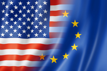 spangled: Mixed USA and Europe flag, three dimensional render, illustration Stock Photo