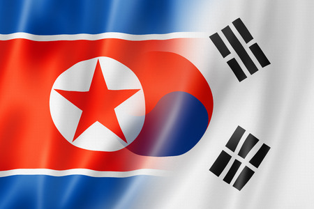 patriotic background: Mixed North Korea and South Korea flag, three dimensional render, illustration Stock Photo