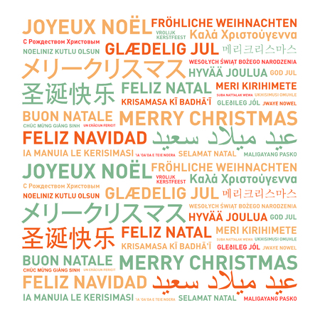 written: Merry christmas from the world. Different languages celebration card Stock Photo