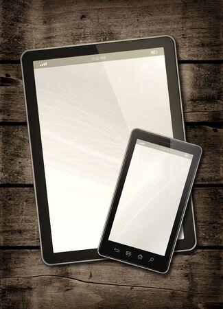 verticales: Smartphone y PC tableta digital en una mesa de madera oscura - maqueta vertical de la oficina