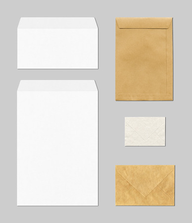 various envelopes mockup template isolated on grey background Archivio Fotografico