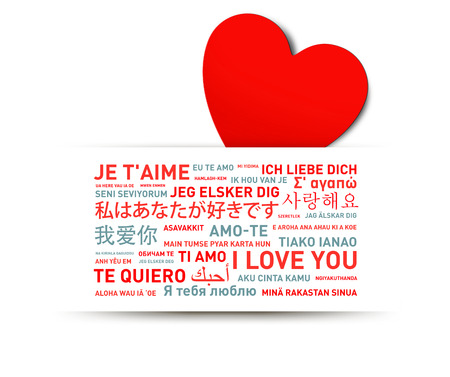I love you message card translated in different world languages Stock Photo