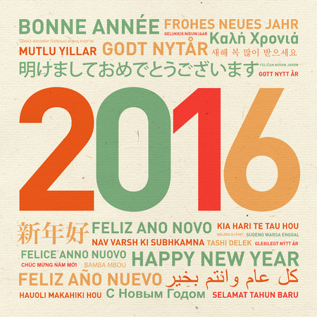 new year background: Happy new year vintage card from the world in different languages