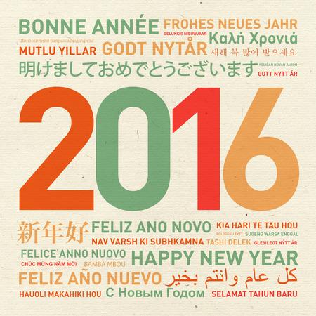 nowy rok: Szczęśliwego nowego roku karty rocznik od świata w różnych językach Zdjęcie Seryjne