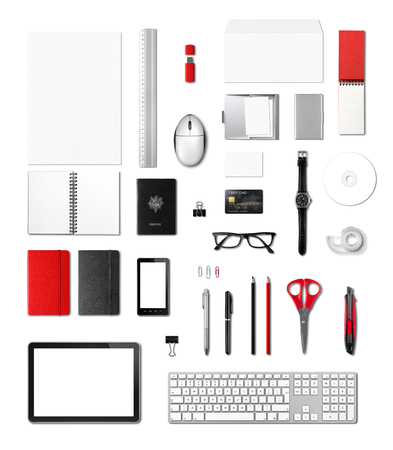 Office supplies mockup template, isolated on white background