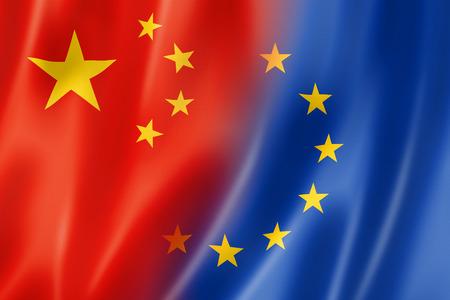 europa: China y Europa mixta bandera, tres de representación tridimensional, ilustración