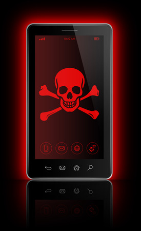 the attack: 3D smartphone with a pirate symbol on screen. Hacking concept Stock Photo