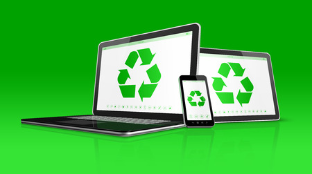 laptop mobile: 3D Laptop tablet PC and smartphone with a recycle symbol on screen. environmental conservation concept