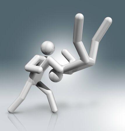 competitors: three dimensional judo symbol, sports competition games