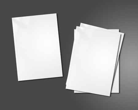 note book: white booklet covers isolated on dark background - mockup template