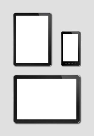 computer model: smartphone and digital tablet pc mockup template. grey background