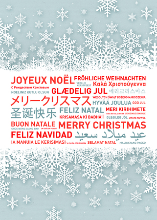 language: Merry christmas from the world. Different languages celebration