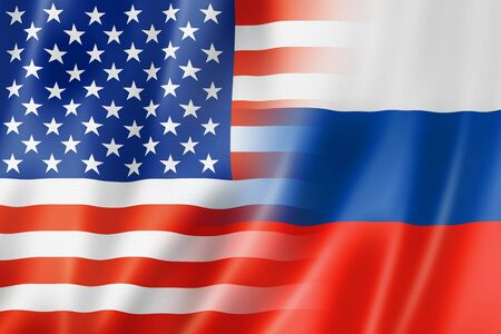 Mixed USA and Russia flag, three dimensional render, illustration Stock Photo