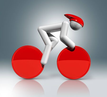 athlete cartoon: three dimensional cycling track symbol,