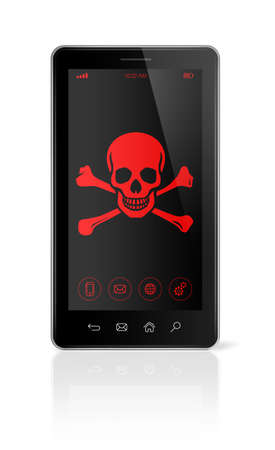 the attack: 3D smart phone with a pirate symbol on screen. Hacking concept