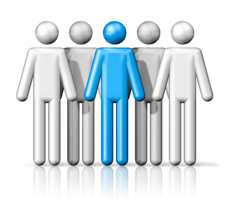 stick figure people: three dimensional group of people stick figures - white and blue Stock Photo