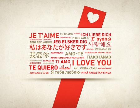 idiomas: Te amo tarjeta de mensaje traducido en diferentes idiomas del mundo Foto de archivo